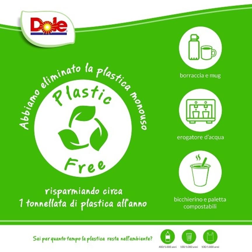 Dole Italia lancia il progetto Plastic Free