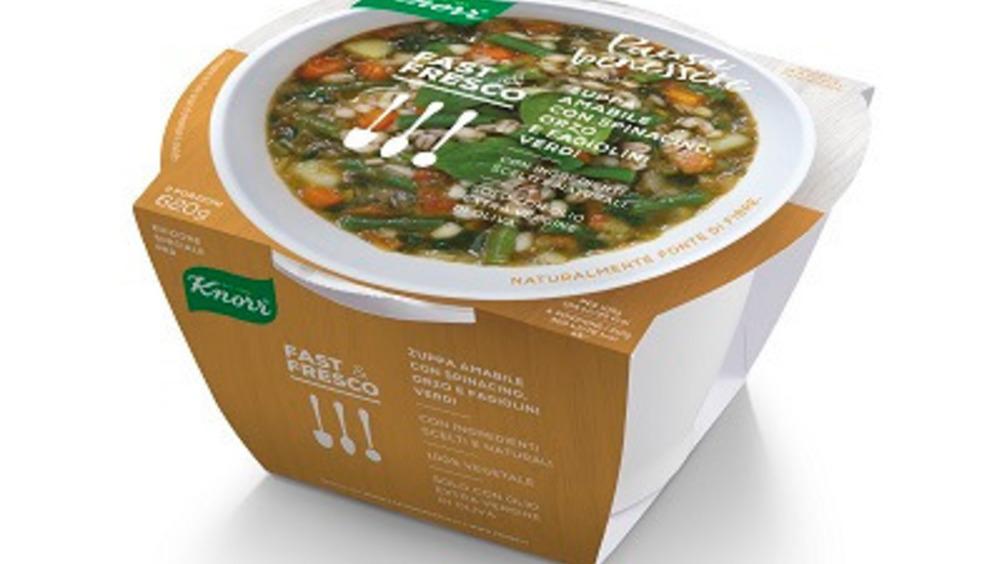 Zuppa amabile con spinacino, orzo e fagiolini verdi