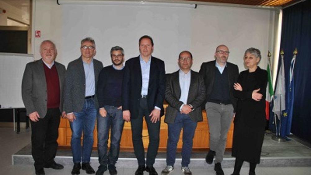 Da sinistra: Gabriele Canali, Tiberio Rabboni, Roberto Iovino, Aldo Rodolfi, Fabrizio Affaticati, Michele Distefano e Francesca Bergamini
