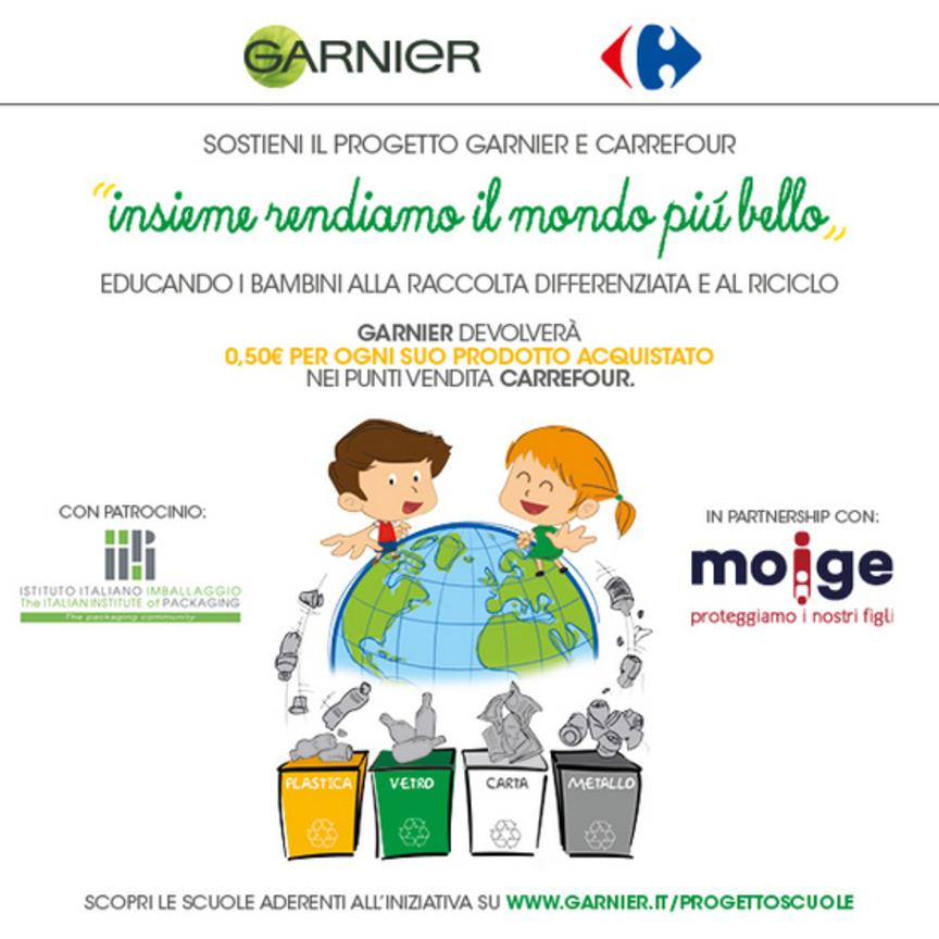 Garnier e Carrefour alleati in Riciclò, il progetto che porta il riciclo nelle scuole