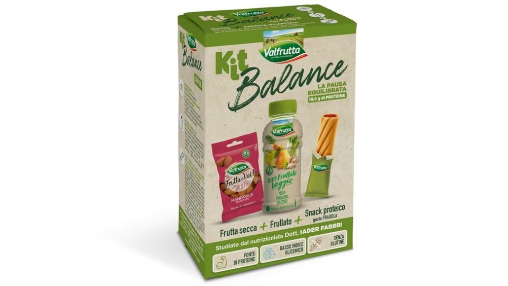 Valfrutta Kit Balance: frullato di frutta e verdura, snack proteico e frutta secca  in un unico kit, per una pausa bilanciata e gustosa