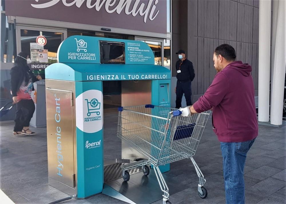 """""""Iperal"""": installato il primo sanificatore per carrelli della spesa"""