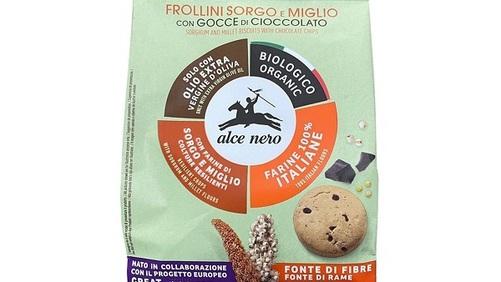 Alce Nero propone i Frollini biologici al sorgo e miglio con gocce di cioccolato